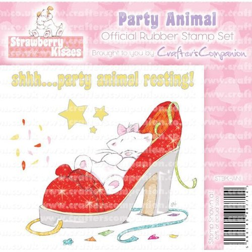 "Sello de caucho para montar Strawberry Kisses ""Party Animal"""