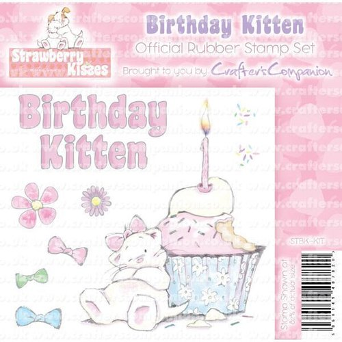 "Sello de caucho para montar Strawberry Kisses ""Birthday Kitten"""