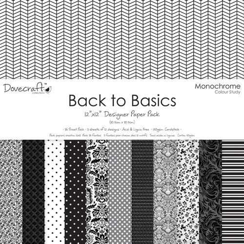 "Pack de Hojas Dovecraft 12x12 Back to Basics ""Monochrome"""