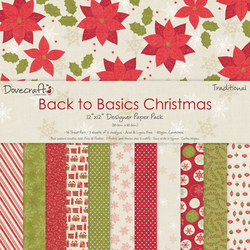 Pack de Hojas Dovecraft 12x12 Back to Basics Christmas Traditional