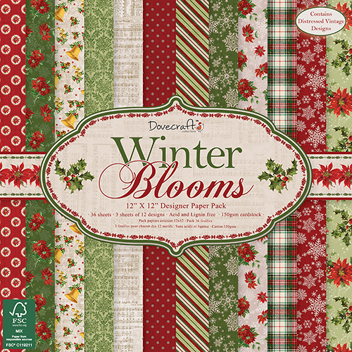 Pack de Hojas 12x12 Dovercraft: Winter Blooms