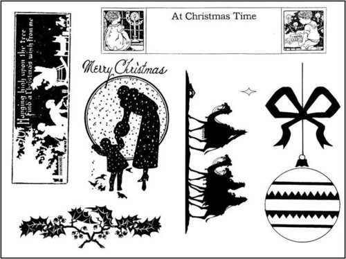 Victorian Christmas Rubber Stamp
