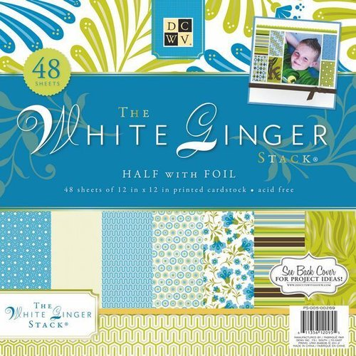 12X12 White Ginger Cardstock Stack by DCWV