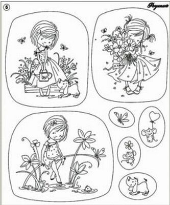 Clear Stamp Pergamano Flower Girls