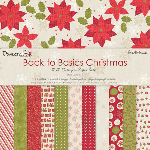 Pack de Hojas Dovecraft 8x8 Basics Christmas Traditional
