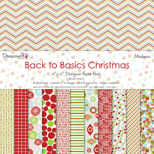 Pack de Hojas Dovecraft 12x12 Back to Basics Christmas Modern