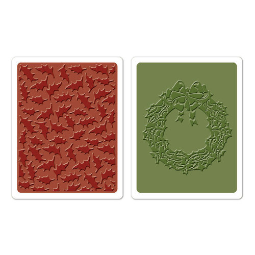 Sizzix Textured Impressions Embossing Folders - Holly Pattern and wreath set- Tim Holtz