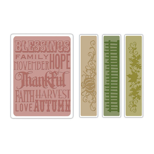 Sizzix Textured Impressions Embossing Folders - Thankful Background and Borders Set- Tim Holtz