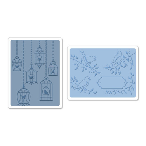 Sizzix Textured Impressions Embossing Folders - Birds and birdcages set #2