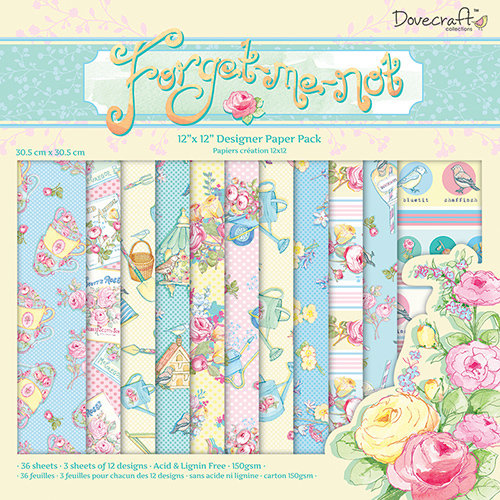 "Pack de Hojas Dovecraft 12x12  ""Forget Me Not"""