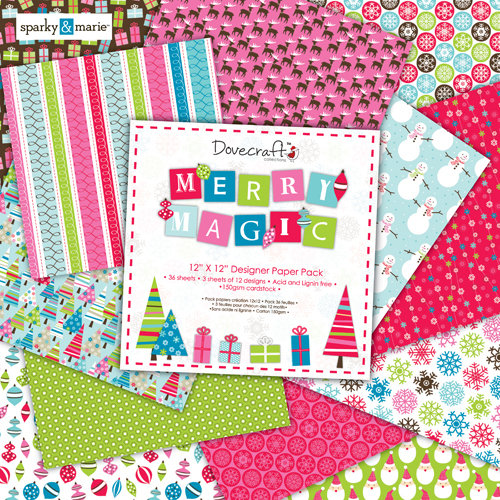 "Pack de Hojas Dovecraft 12x12 ""Merry Magic"""