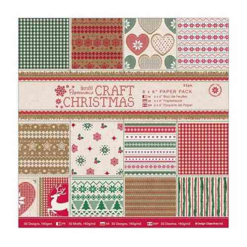 Pack de Hojas Docrafts 6 x 6- Craft Christmas