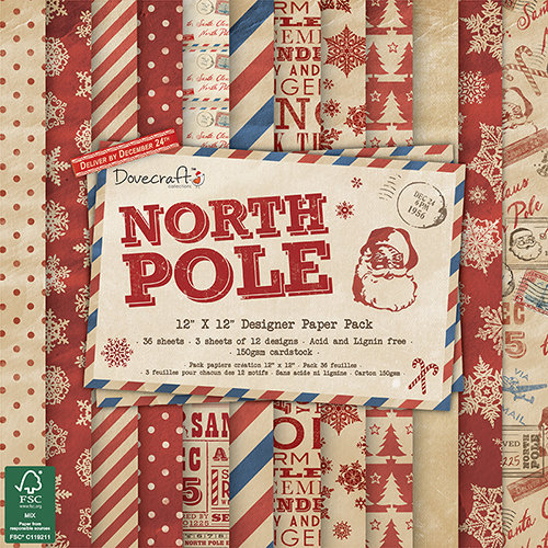 Pack de Hojas Dovecraft 12x12 North Pole