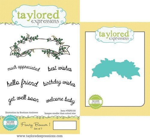 Taylored Expressions Fancy Banner Rubber Stamp + Die
