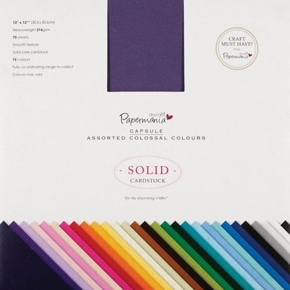 Papermania 12x12 SolidvCardstock  - 75 Sheets