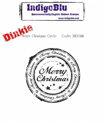 Sello de caucho montado IndigoBlu: Merry Christmas Circle