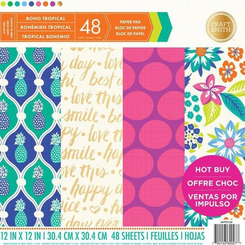 "Bloc de Papel Craft Smith 12x12 ""Boho Tropical"""