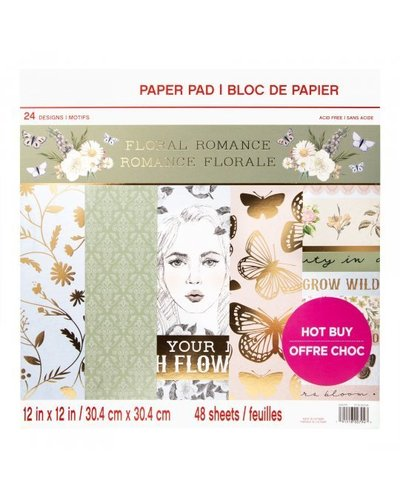 "Bloc de Papel Craft Smith 12x12 ""Floral Romance"""