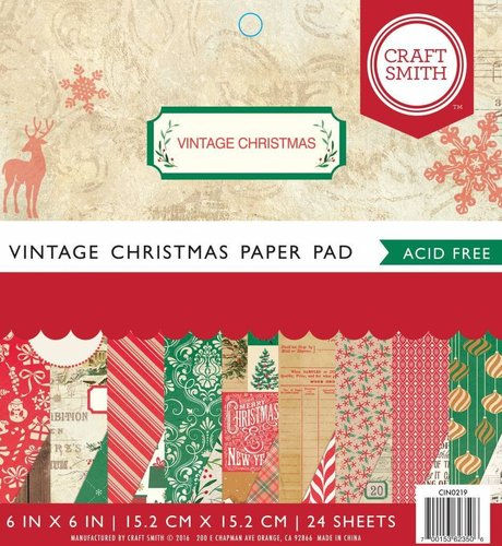 Papel 6x6 Craft Smith- Navidad Vintage