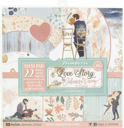 "Pack de Hojas Stamperia 12x12  ""Love Story"""
