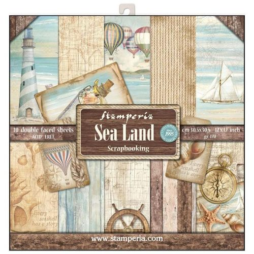 "Pack de Hojas Stamperia 12x12  ""Sea Land"""
