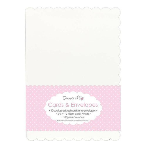 Tarjetas y Sobres color blanco con borde en blondas 5x7 Dovercraft